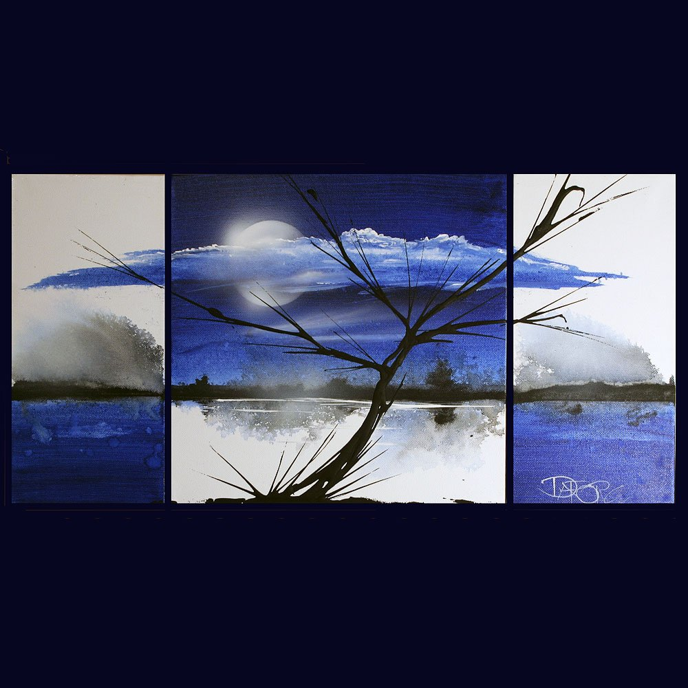 Landscape 262 blue landscape abstract art painting
