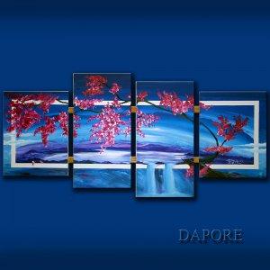 Blue flowering cherry tree painting original art