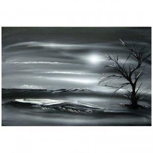 Original modern landscape black white painting Dapore