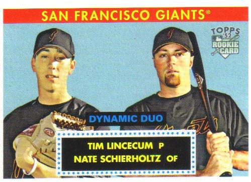 2007 Topps '52 Dynamic Duos  #1 Tim Lincecum / Nate Schierholtz  RC  Giants