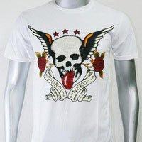 SHIROI NEKO T-shirt Tattoo Rock Skull Punk Mens Code : A088 Size=M