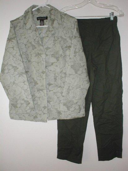 DIALOGUE Linen Cotton Jacquard Jacket & Ankle Pants Set Size 6 SMALL Sage