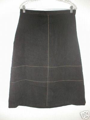 NINA LEONARD Moleskin Contrast Stitch Skirt LRG L 14