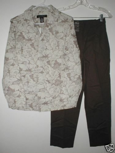 DIALOGUE Jacquard Jacket & Ankle Pants Set XS 4 Brown