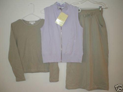 SPORT SAVVY Stretch French Terry Vest, Skirt & Shirt XS