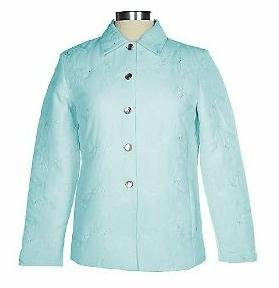 DIALOGUE Tonal Embroidered Quilted Jacket LRG 14 L NWT