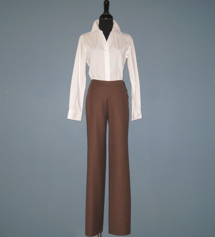 NWT TSE Ladies 100% Wool Driftwood Brown Flat Front Wideleg Trouser Slacks Pants #WOD348P - 4