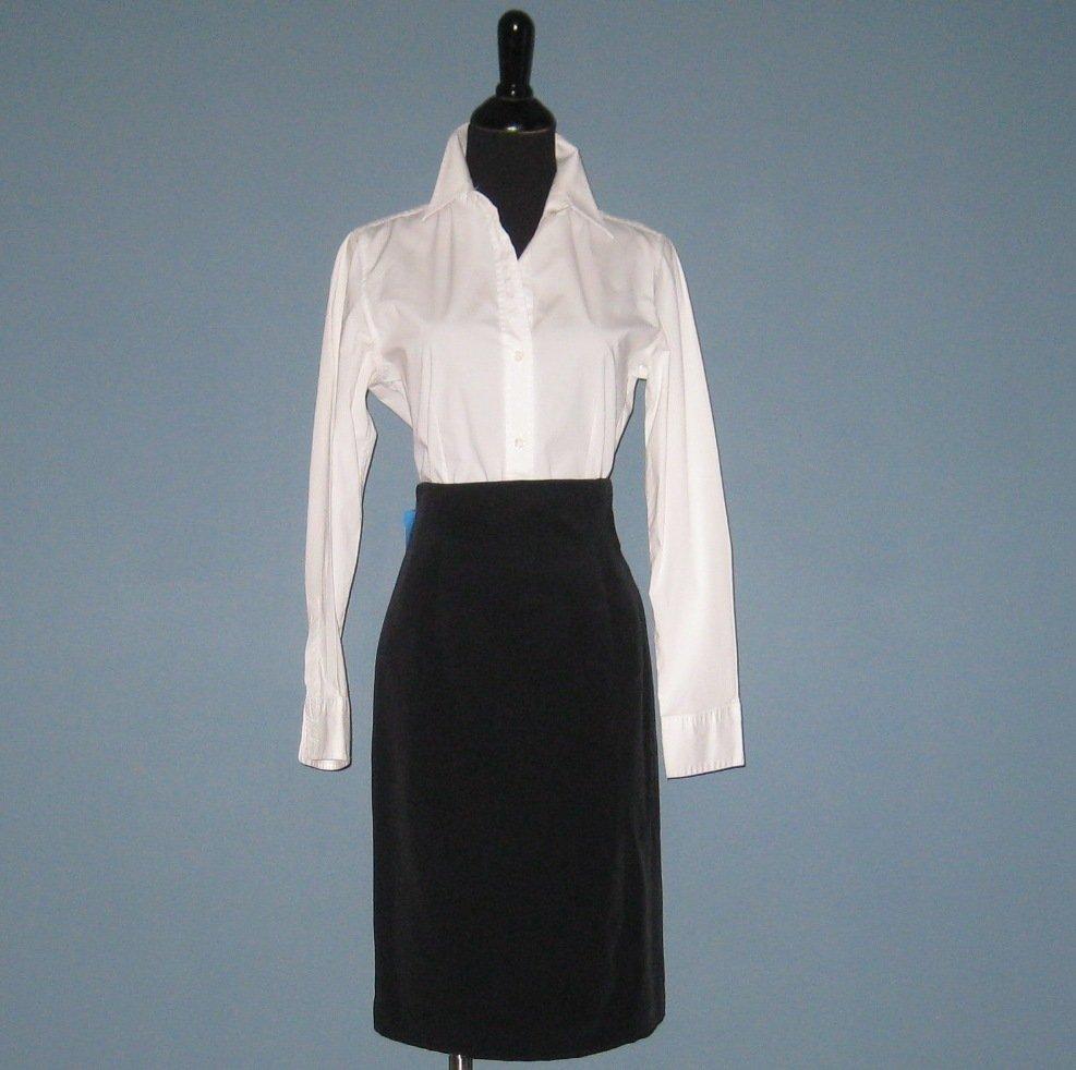 NWT Flores & Flores Black 100% Silk Pencil Skirt - 4