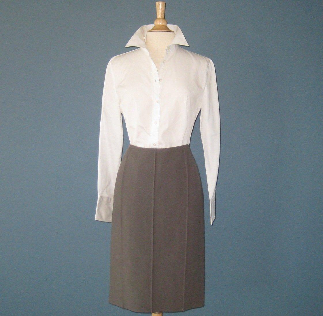 NWT Charles Nolan Cement (Grayish Mauve) 100% Wool Straight Skirt - 12