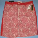 NWT Nautica Red Floral Print Drawstring Trunk Board Shorts - 40