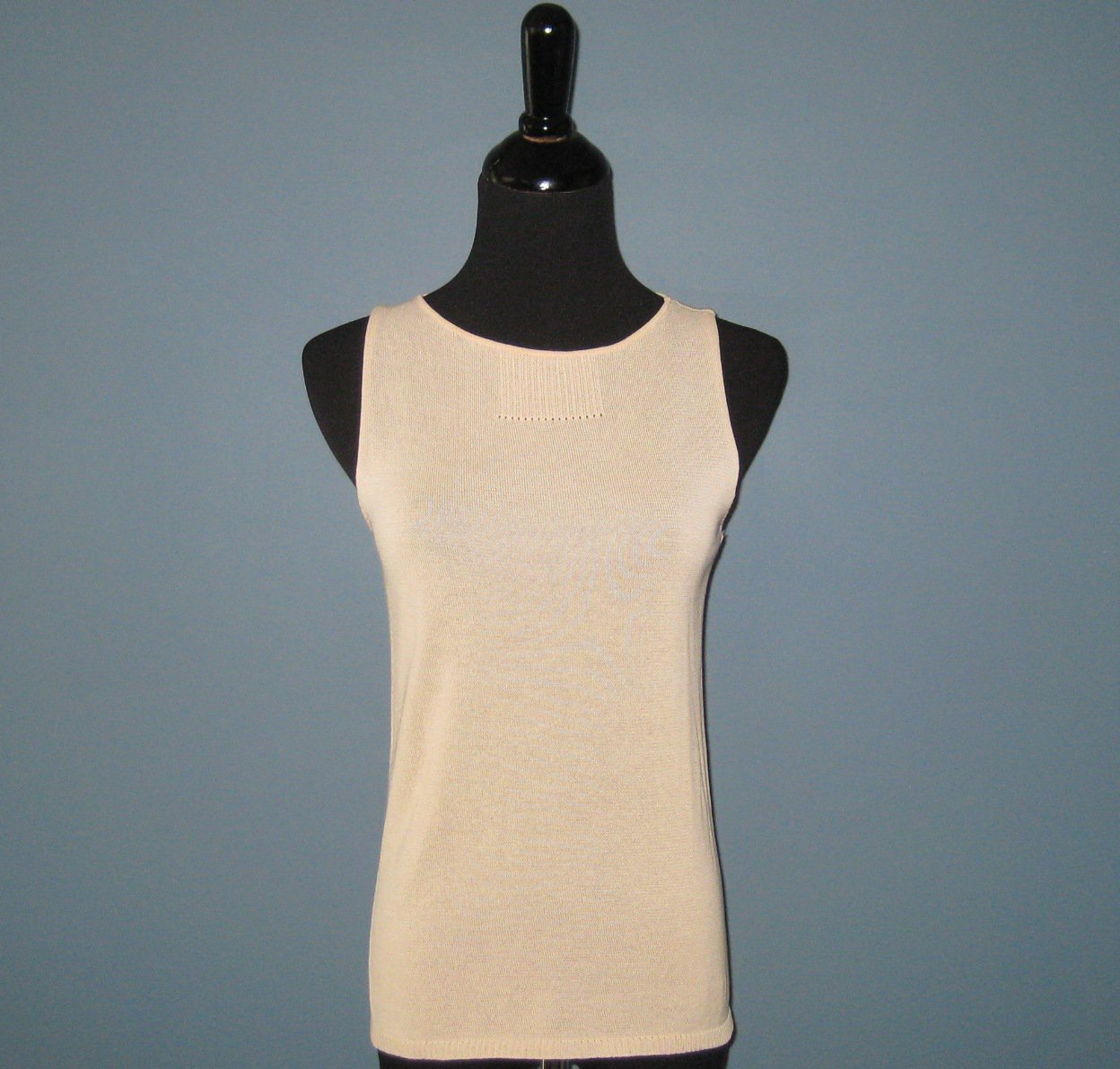 NWT Krizia Maglia Ecru Cotton Knit Tank Top Sweater - 40 (US 6) - FINAL SALE