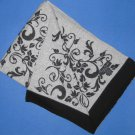 "NIP Claudia Nichole 100% Cashmere Gray w/Black Border Floral Print Throw 50"" x 70"""