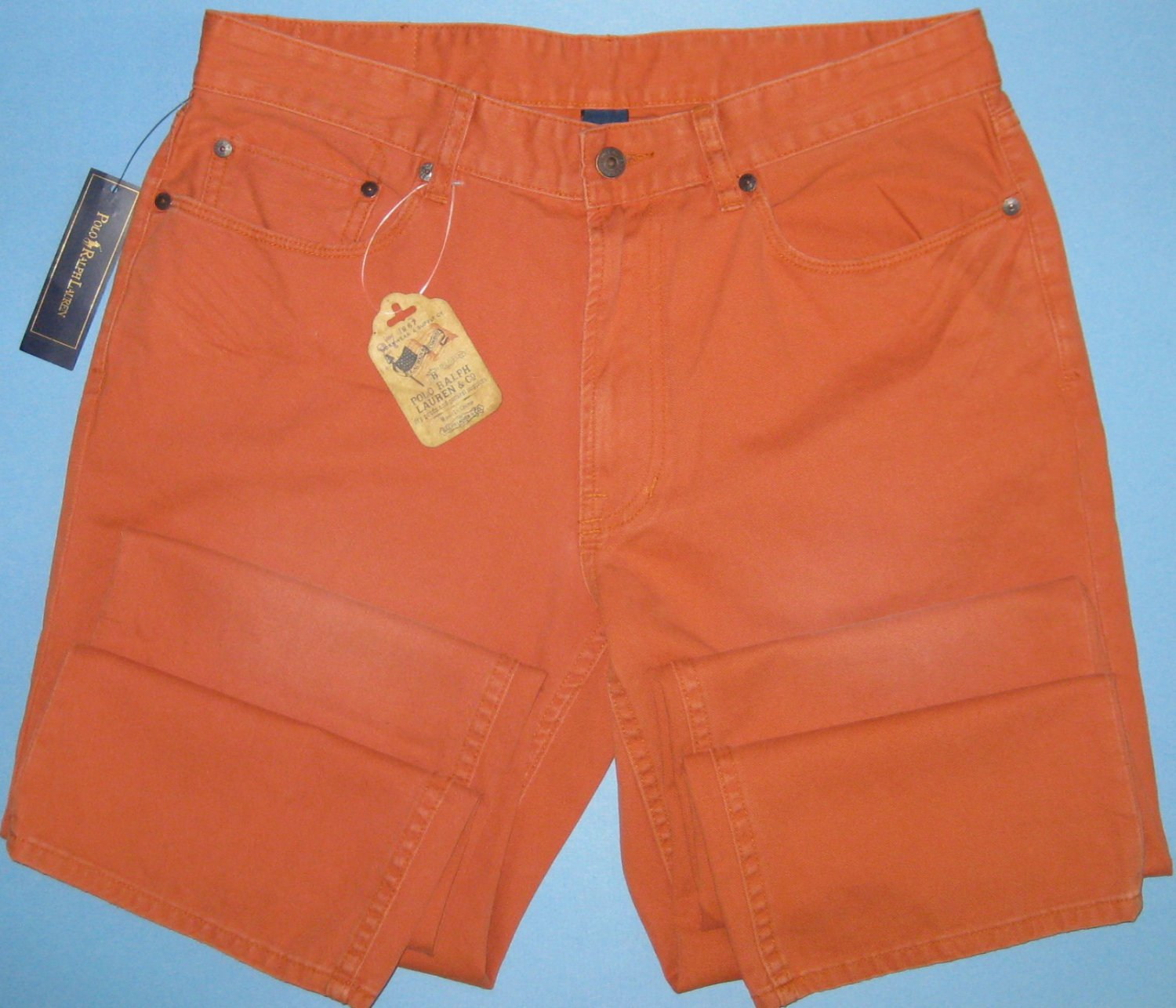 NWT Polo Ralph Lauren Country Straight Leg Pumpkin Distressed Denim Jeans - 33x30