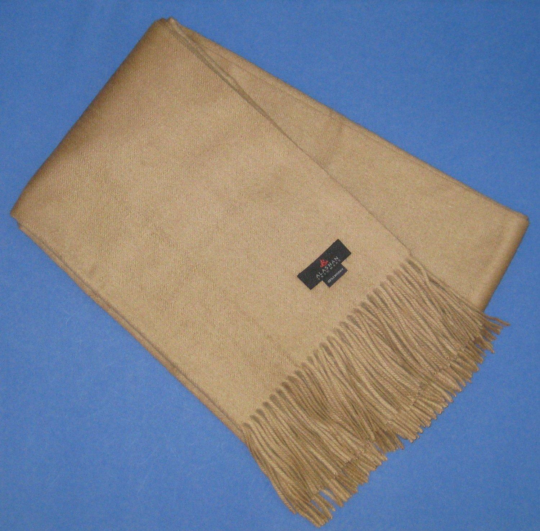 "NIP Alashan 100% Cashmere Plain Weave Throw 50"" x 70"" - Camel"