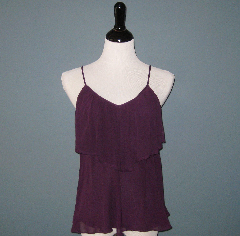 NWT Kenar Ladies Burgundy 100% Silk Chiffon Tunic Blouse - S