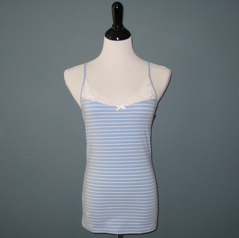 NWT Ralph Lauren Powder Blue & Cream Wide Striped Lace Trim Camisole 825701T - M