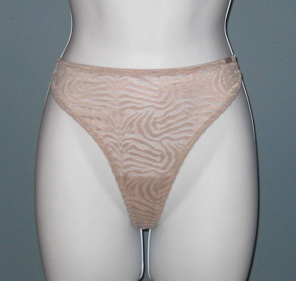 NWT Calvin Klein Ostritch Feather Beige Shimmy Sheer Thong #D1619 - L