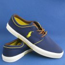 NEW Men's Polo Ralph Lauren Blue & Yellow Cotton Canvas Faxon Lace-up Sneakers - 17D