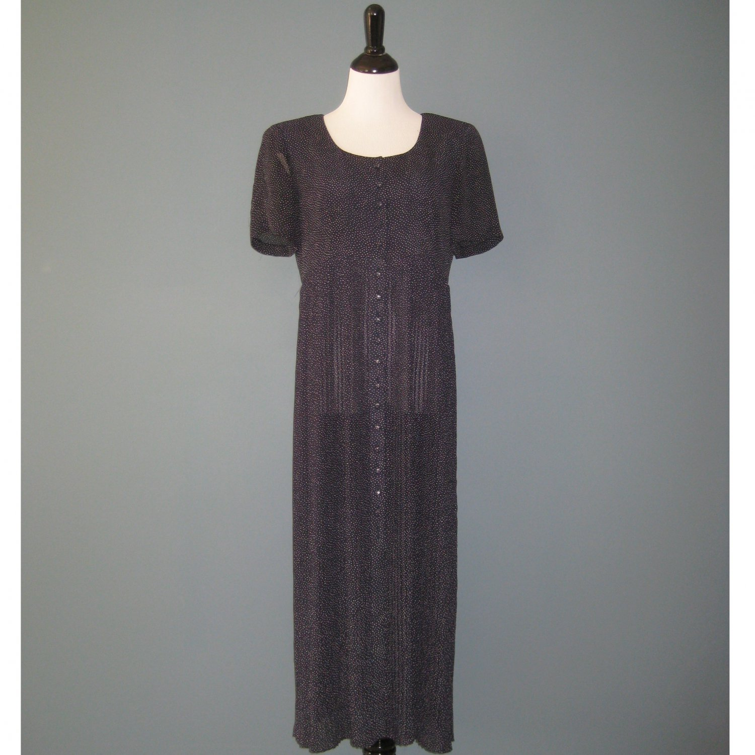 Pre-Owned Liz Claiborne S/S Navy Blue Pin Dot Sheer Pleated Dress - 8