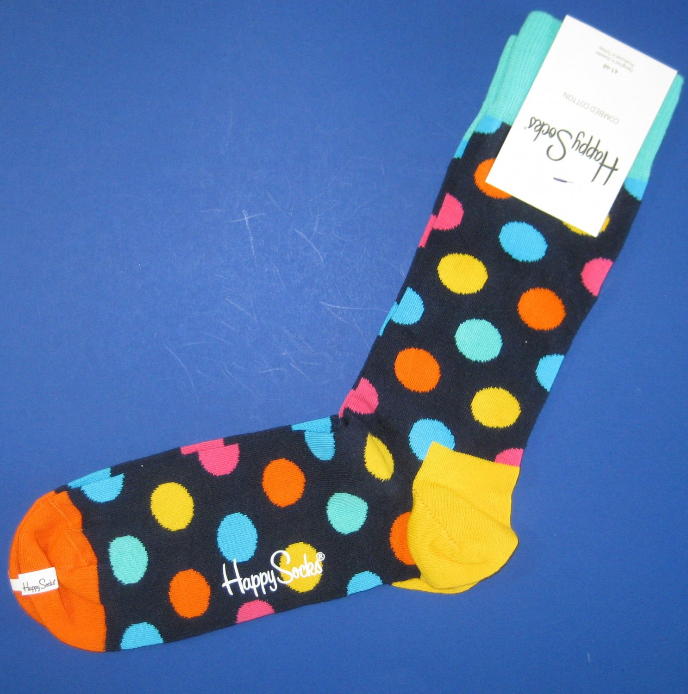NWT Happy Socks Blue Multi-Colored Dot Cotton Socks