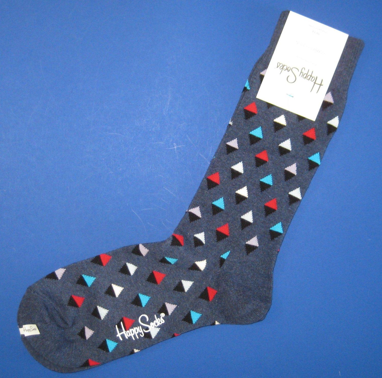 NWT Happy Socks Blue Multi-Colored Mini Diamonds Cotton Socks