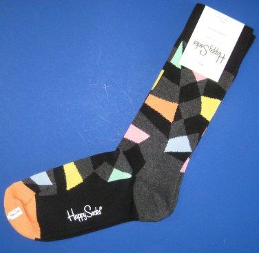 NWT Happy Socks Black Gray Multi Colored Abstract Cotton Socks
