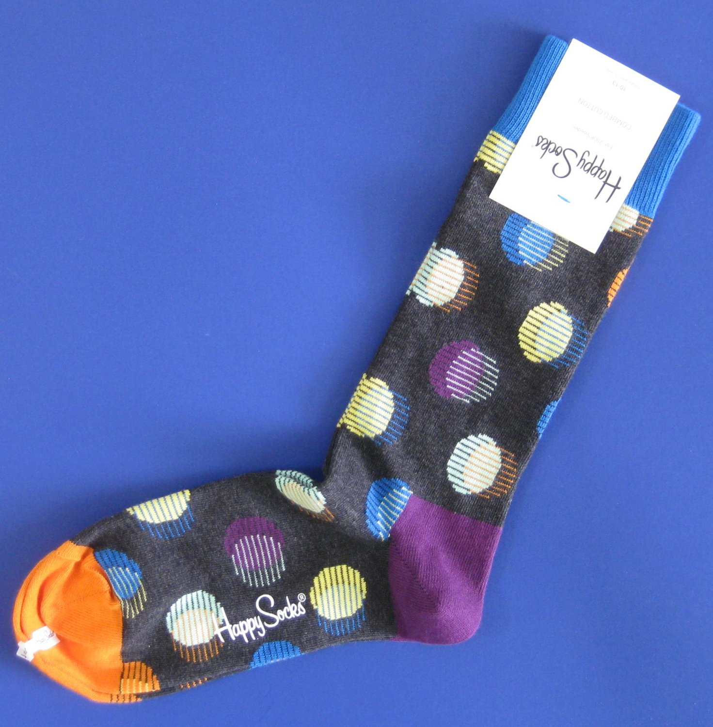 NWT Happy Socks Gray Multi-Colored Out of Focus Dot Cotton Socks