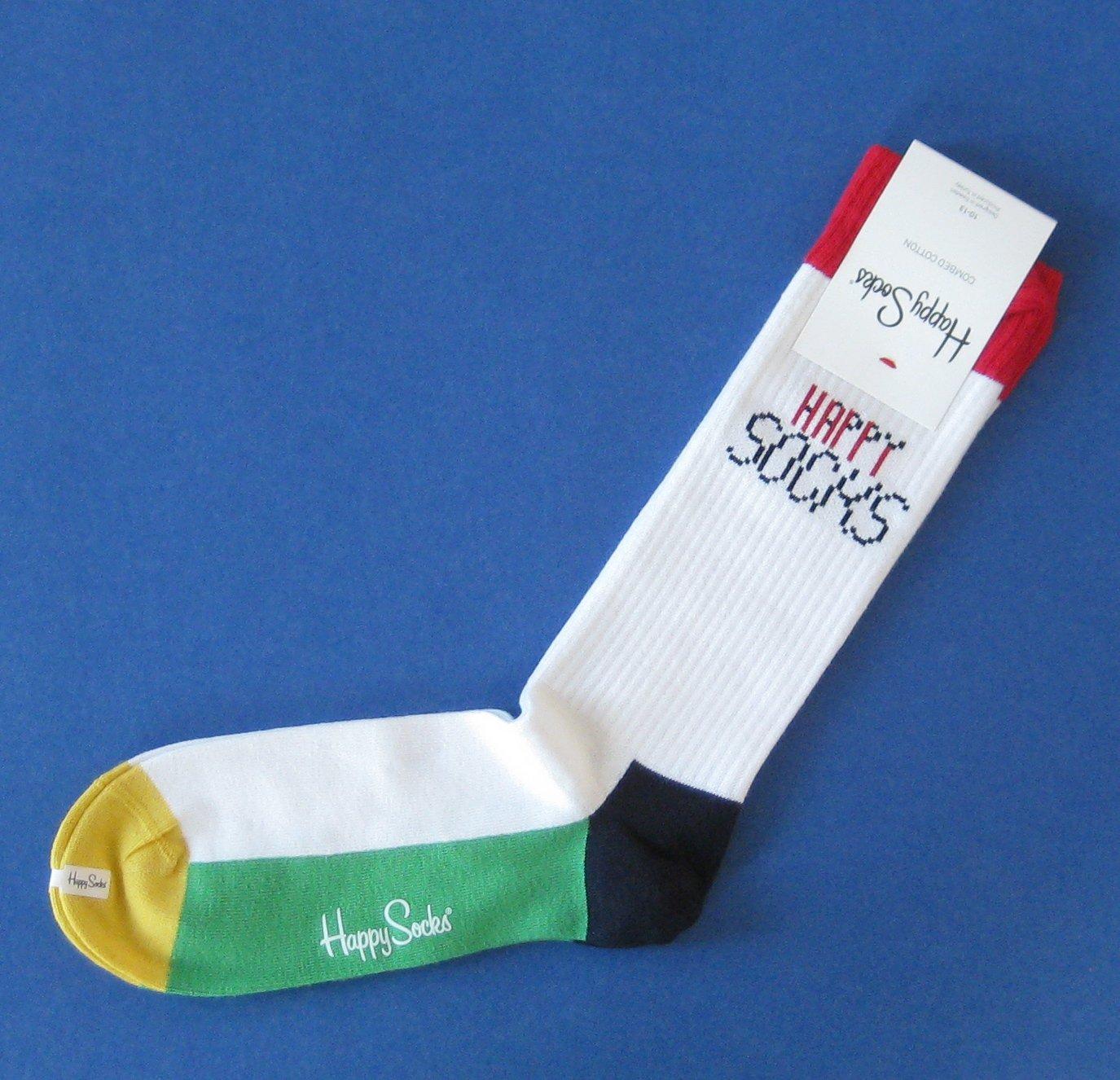 NWT Happy Socks White Combed Cotton Knit Socks