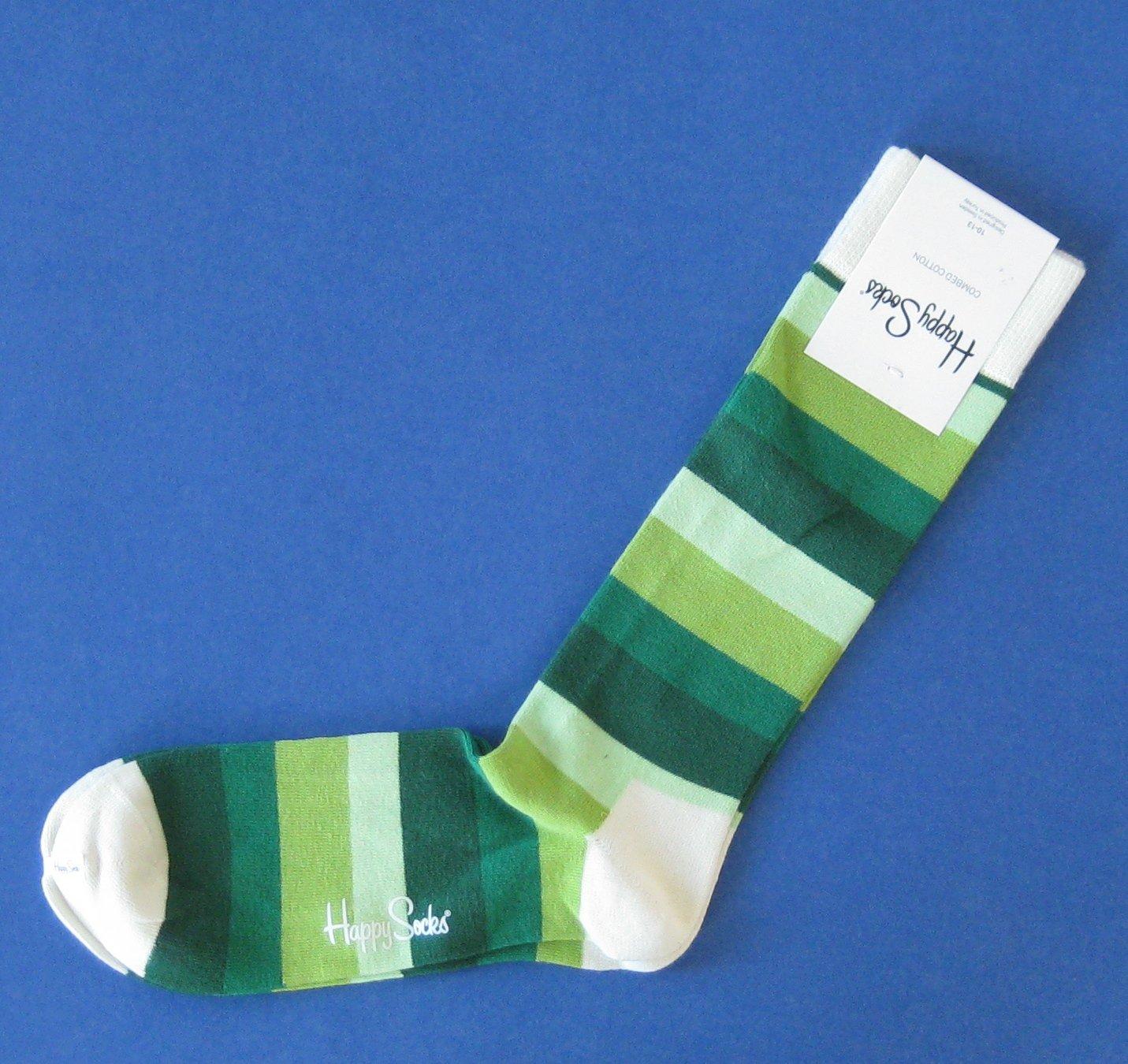 NWT Happy Socks Green Wide Stripe Combed Cotton Knit Socks