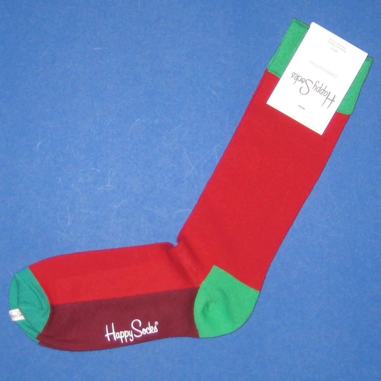 NWT Happy Socks Red & Green Solid Combed Cotton Knit Socks