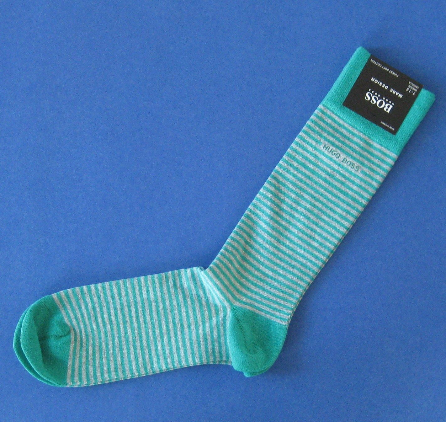 "NWT Hugo Boss Green Gray Stripe ""Marc Design"" Cotton Stretch Socks"