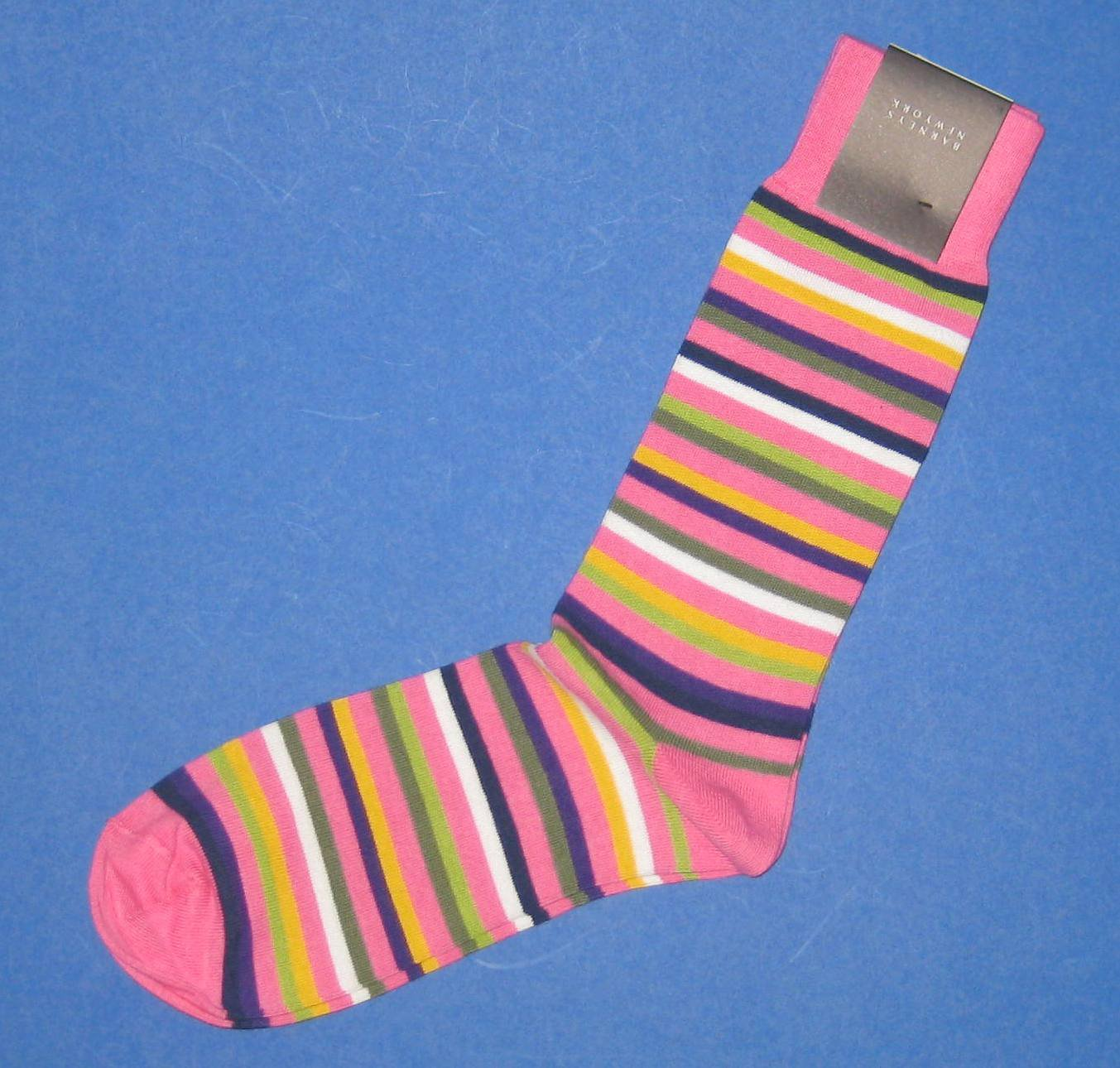 NWT Barneys New York Italian Made Pink Multi Colored Striped Cotton Knit Socks