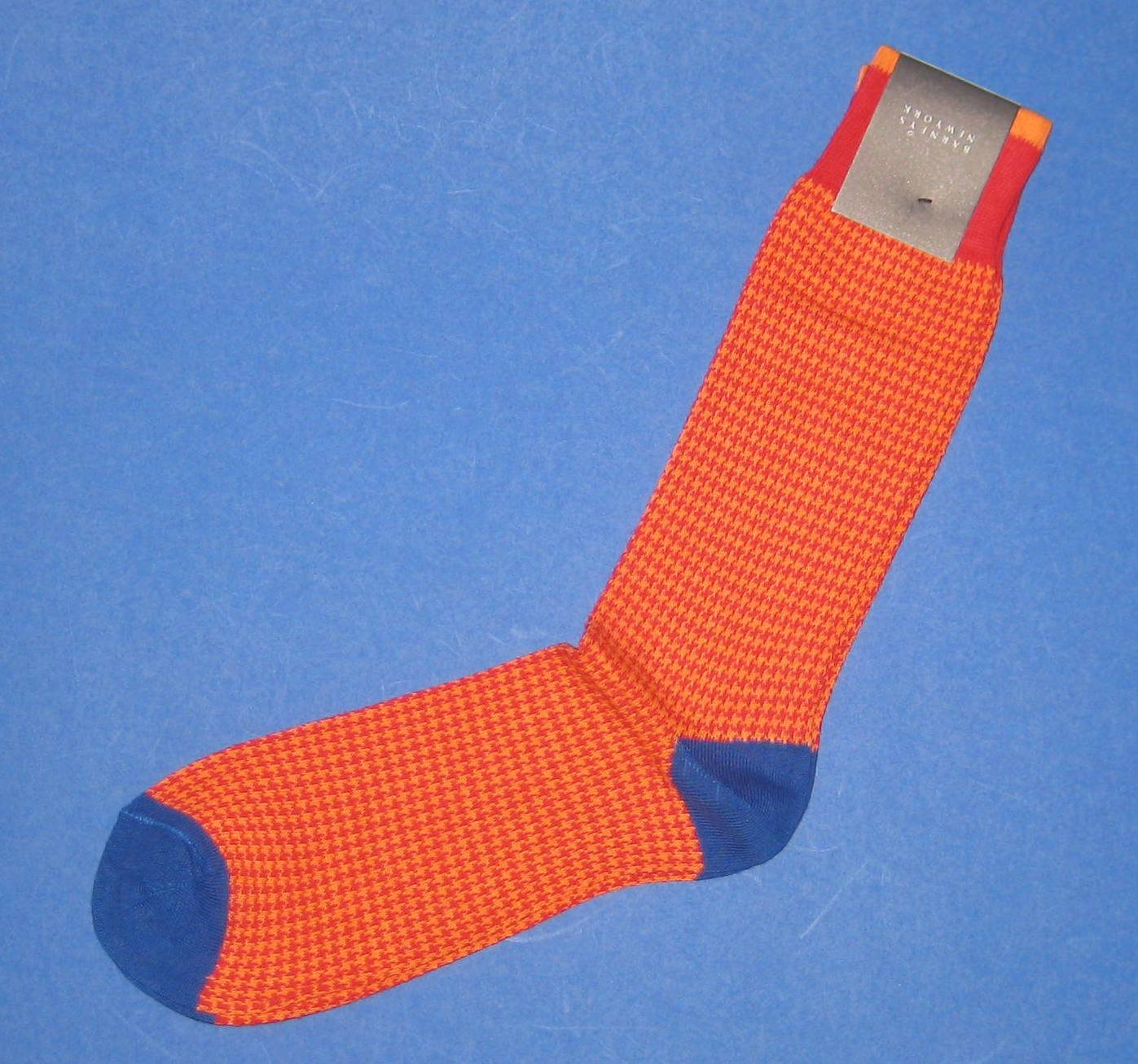 NWT Barneys New York - Italian Made Cotton Knit Orange Houndstooth Dress Socks