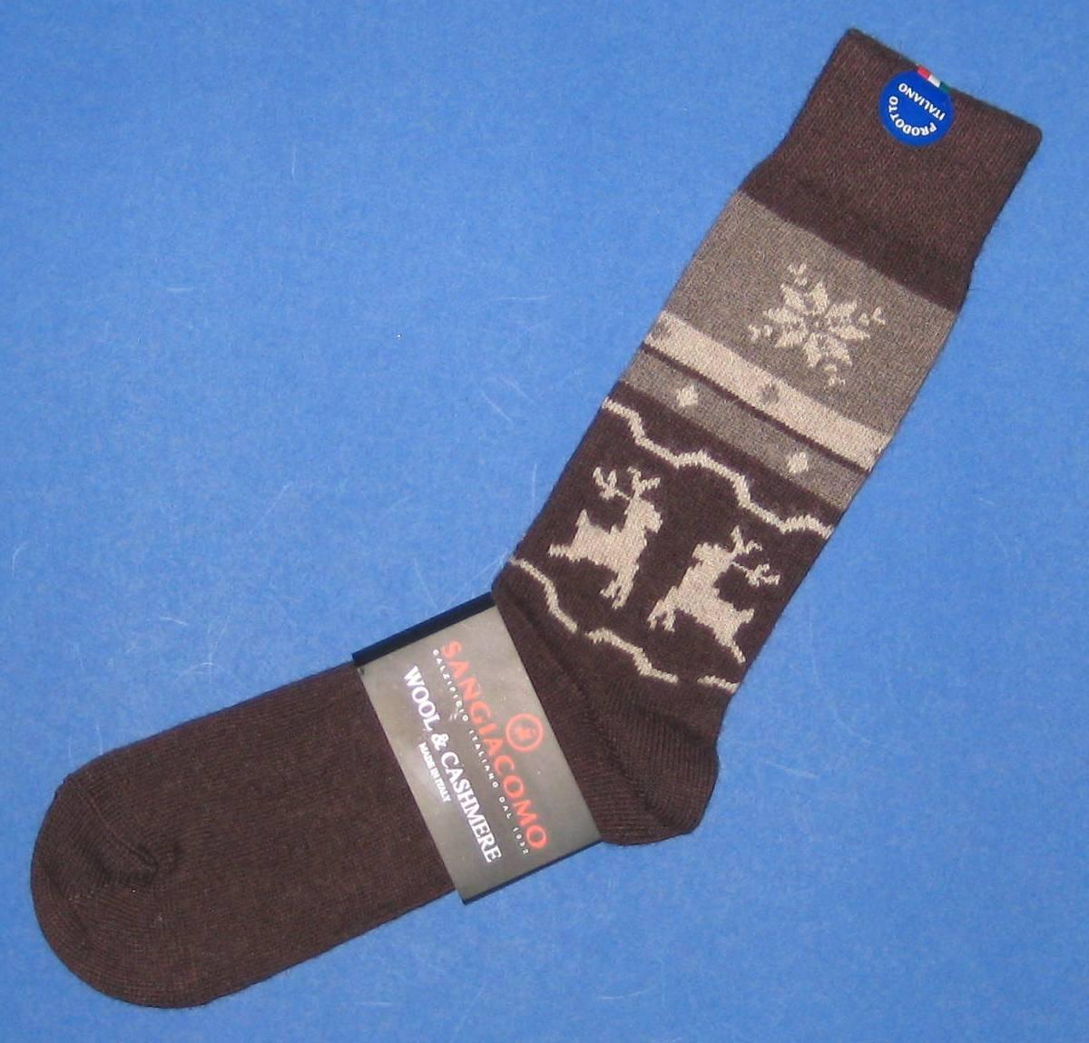 NWT Sangiacomo Brown Merino Wool & Cashmere Snowflake Reindeer Knit Dress Socks