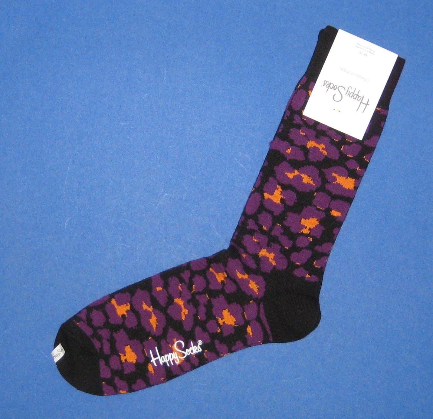 NWT Happy Socks Purple w/Black & Orange Inkblot Print Combed Cotton Knit Socks