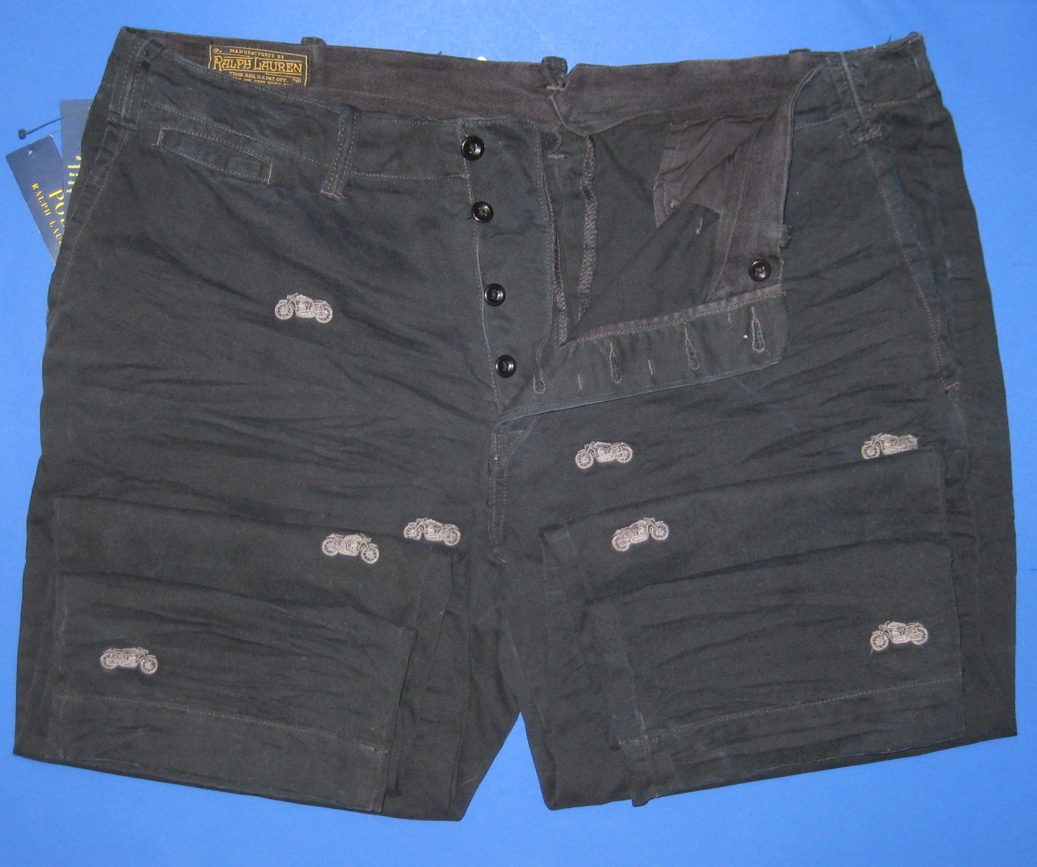 NWT Polo Ralph Lauren Black Embroidered Motorcycle Distressed Cotton Pants 38x30