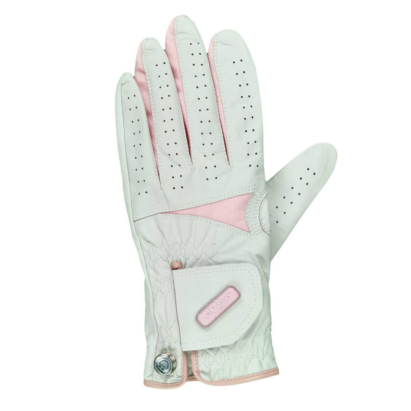 NIB Life is Good Ladies White & Pink Left Hand Leather Golf Glove - S