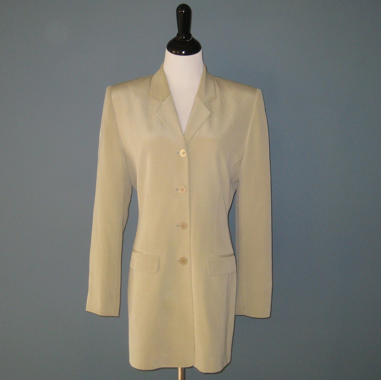 Pre-Owned Silx Celery Green 100% Silk Fitted Blazer Jacket - 8