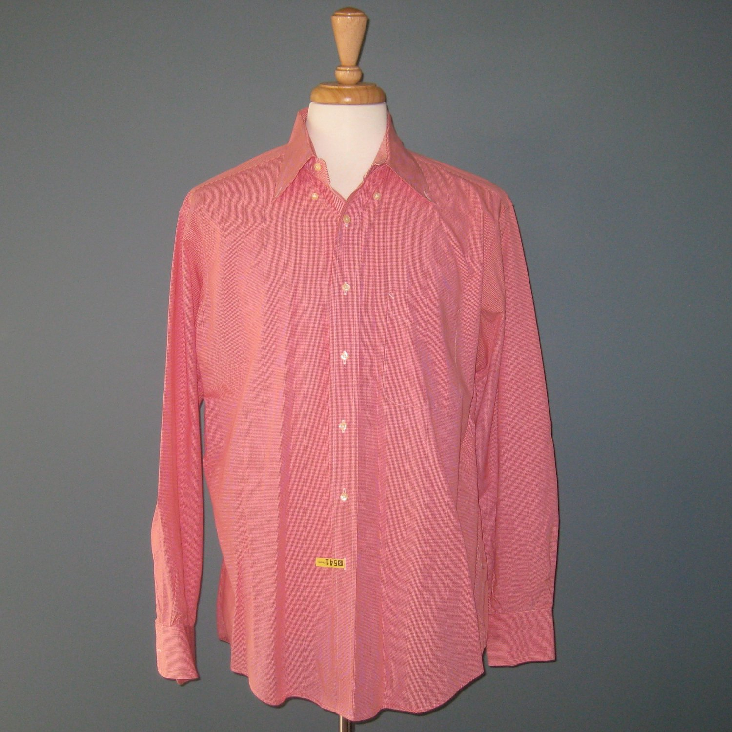 Pre-Owned Tommy Hilfiger Men's 100% Cotton Red Mini Check L/S Dress Shirt - 16 34/35