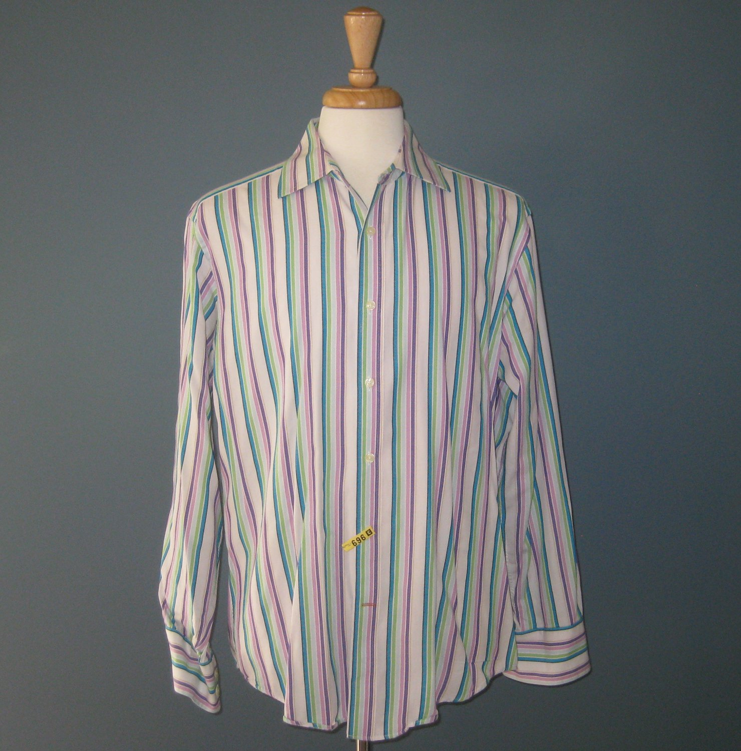 Pre-Owned Nyne New You New Energy Men's 100% Cotton Multi-Colored Striped L/S Dress Shirt - L
