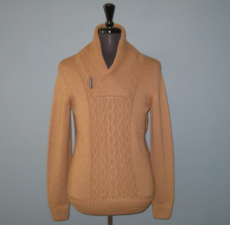 NWT Hugo Boss T-Doberto Virgin Wool & Camel Hair Shawl Collar Sweater - M
