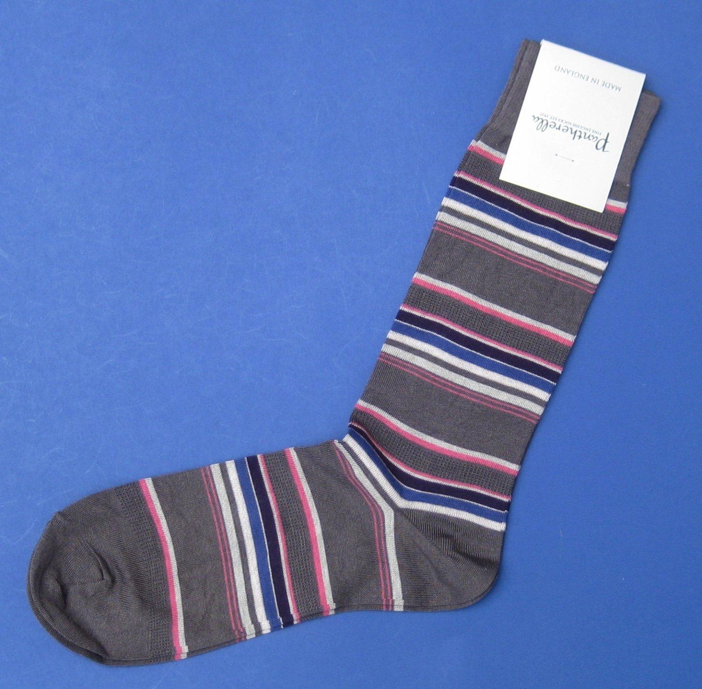 NWT Pantherella Gray/Multi Stripe Cotton Blend Knit Dress Socks - M