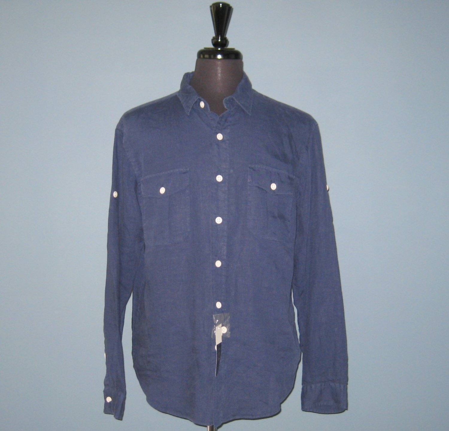 NWT Polo Ralph Lauren L/S 100% Washed Linen Blue Military Camp Shirt - L