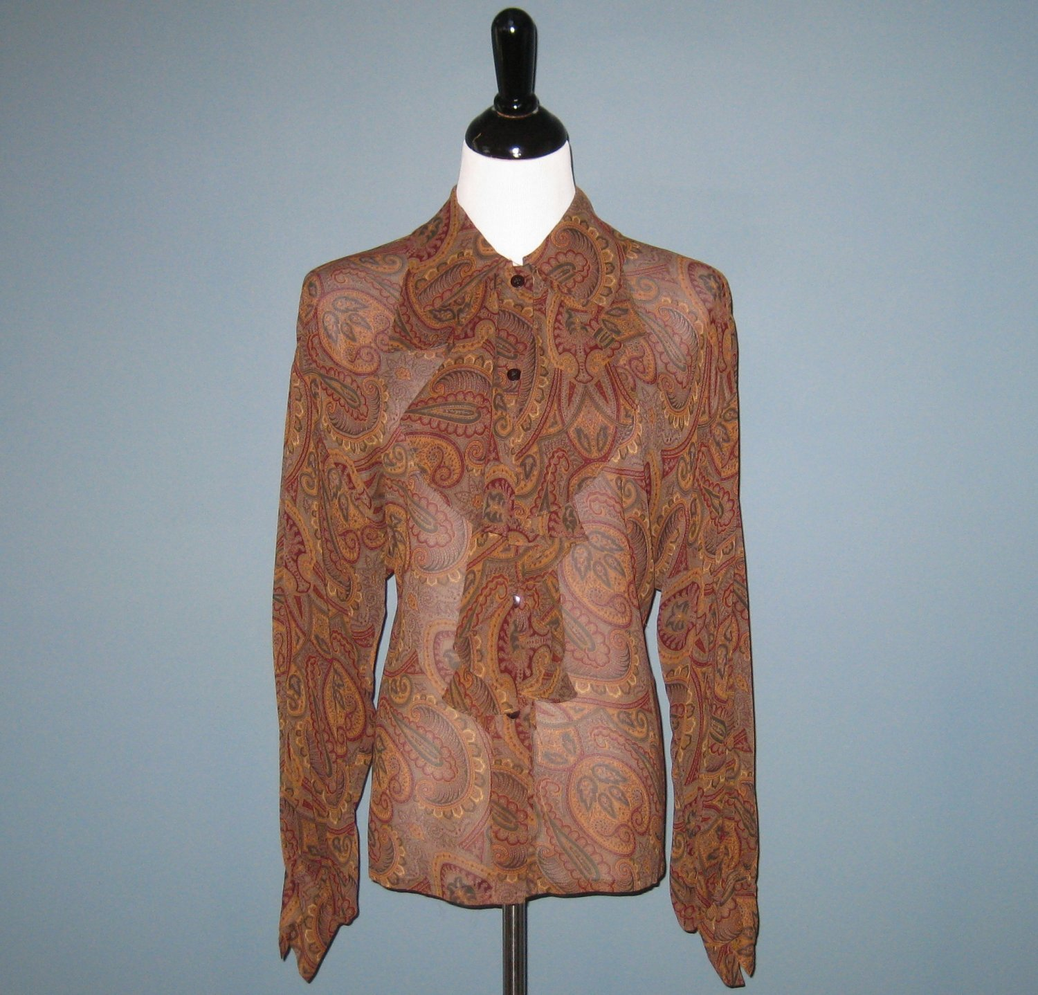 Pre-Owned Ellen Tracy 100% Silk Brown Paisley Ruffle Front Sheer Blouse - 6