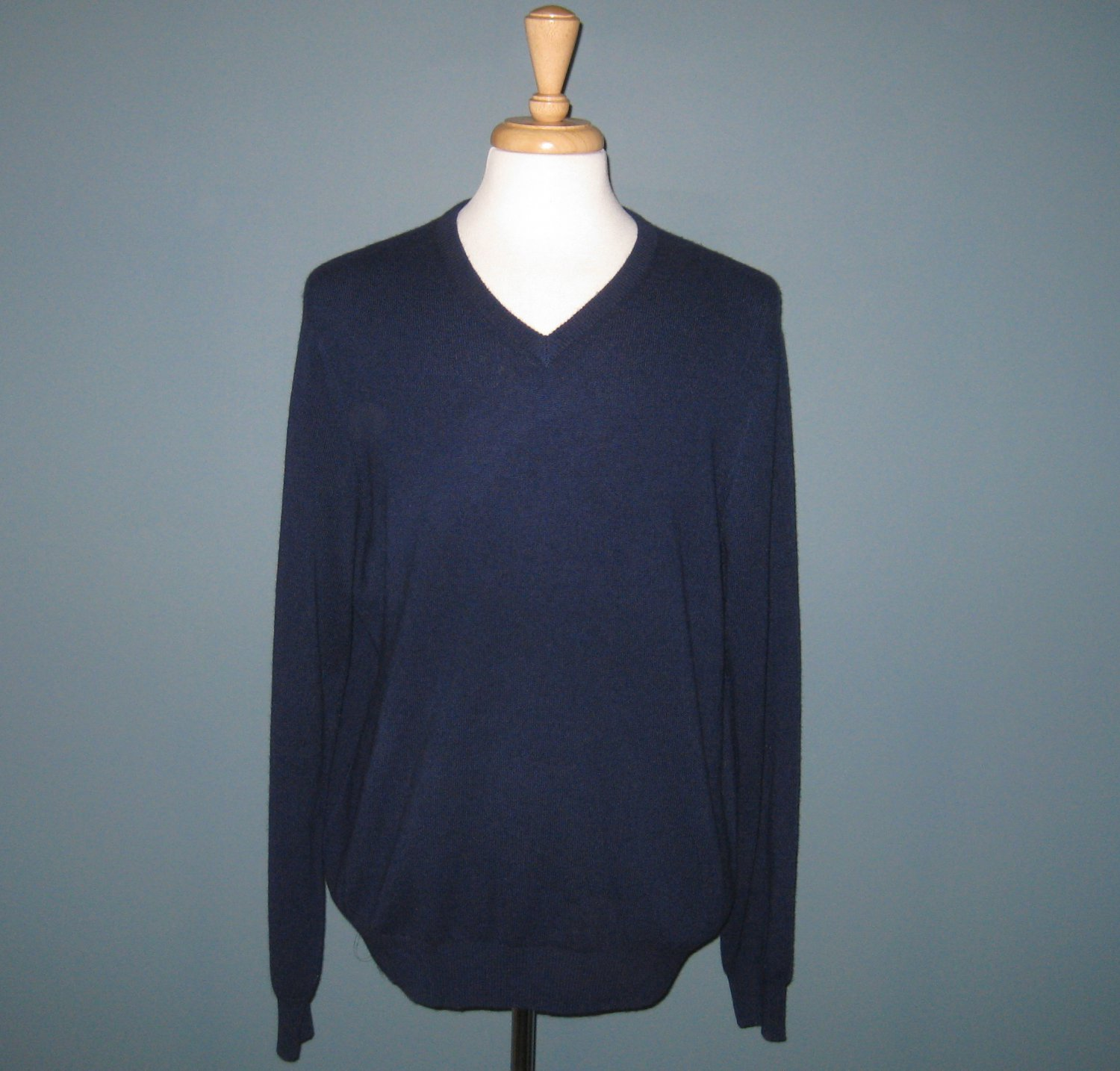 NWT Tahari Men's Navy 2-Ply 100% Cashmere Knit L/S V-Neck Sweater - XL