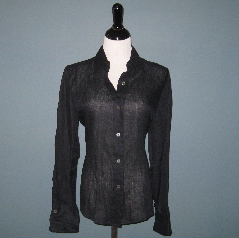 Pre-Owned Ellen Tracy Midnight Navy Sheer 100% Linen L/S Shirt Blouse - 6
