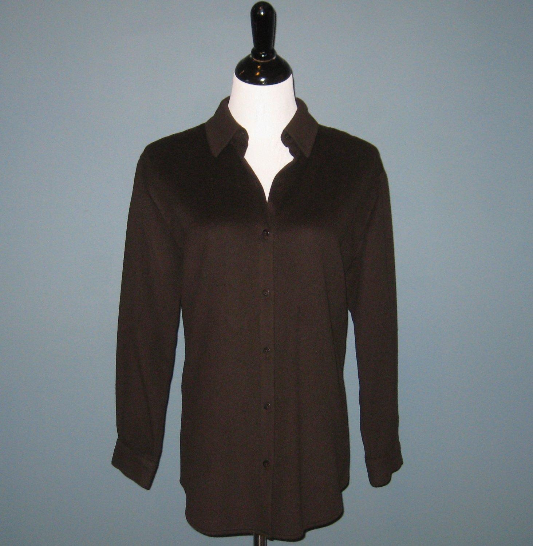 Pre-Owned Dana Buchman Brown 100% Cashmere L/S Shirt Blouse - 8