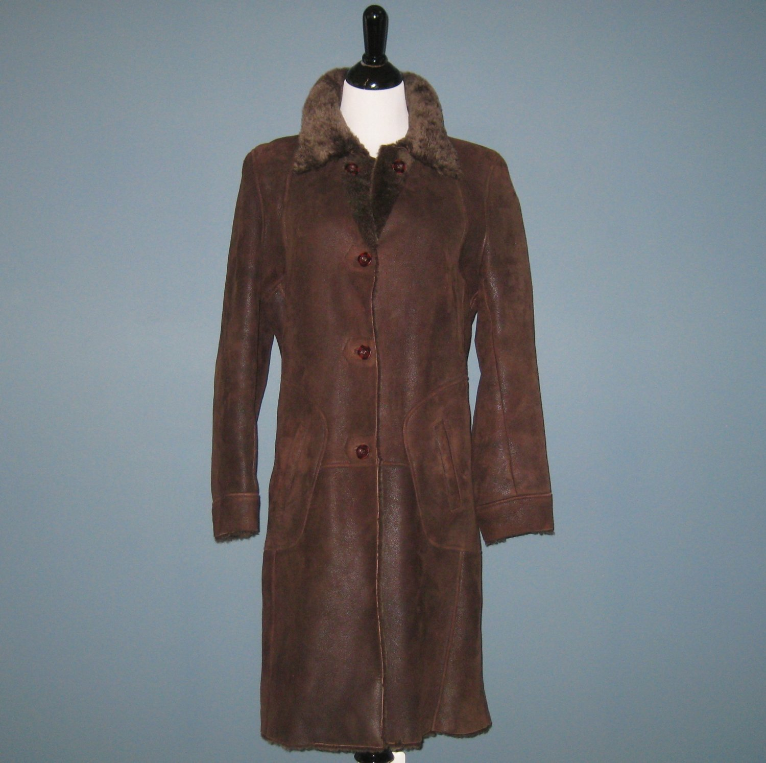 Pre-Owned New Man Collection Ladies Brown 100% Sheepskin Shearling Coat - 42