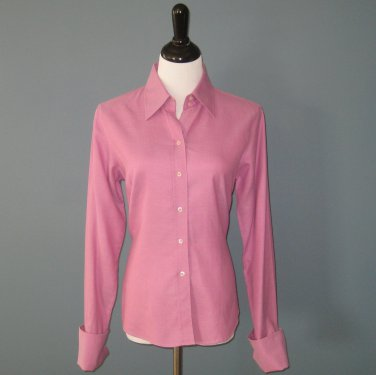 Pre-Owned John Forsyth Magenta 100% Cotton Fitted L/S Shirt Blouse - 12