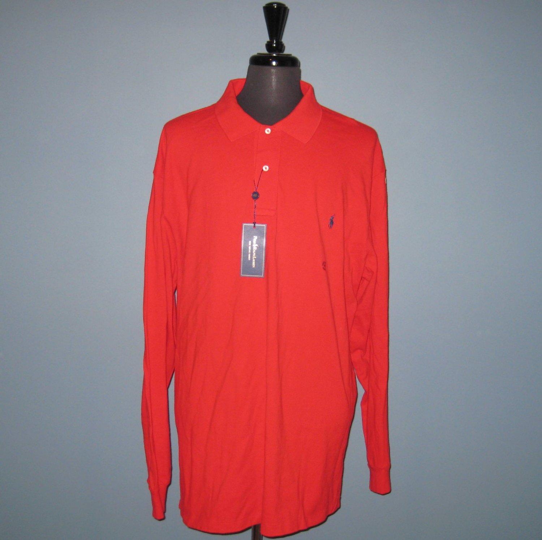 NWT Polo Ralph Lauren L/S Red Mesh Knit Polo Shirt - 3XLT